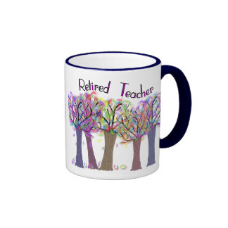 Retired Teacher Artsy Trees Design Coffee Mug