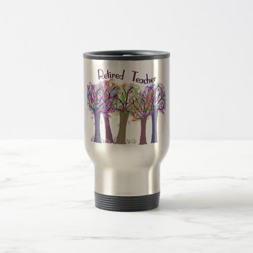 Retired Teacher Artsy Trees Design Coffee Mugs