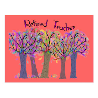 Retired Teacher Artsy Trees Design Postcard