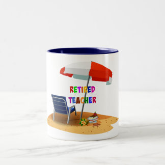 Retired Teacher, Beach Scene (revised) Two-Tone Coffee Mug