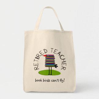 "Retired Teacher ""Book Bird"" Gifts Tote Bags"