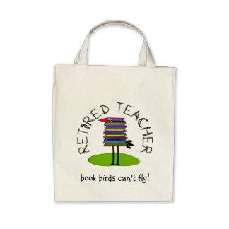 Retired Teacher Book Bird Gifts Tote Bags