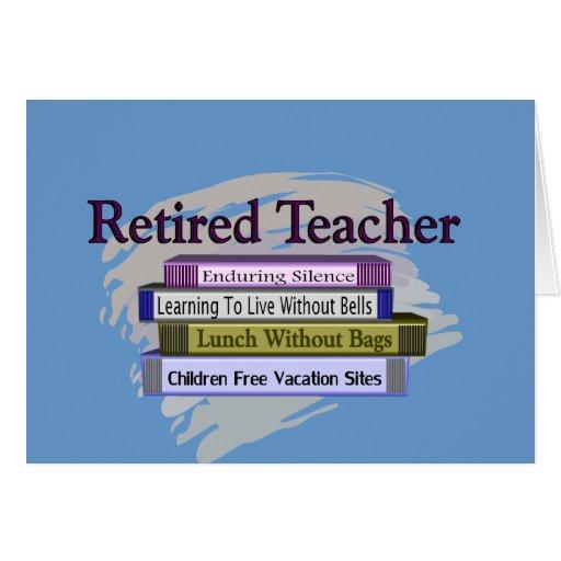 "Retired Teacher ""Funny Stack of Books"" Design Greeting Card"