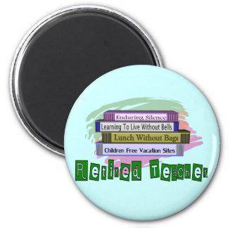Retired Teacher Funny Stack of Books Design Refrigerator Magnets