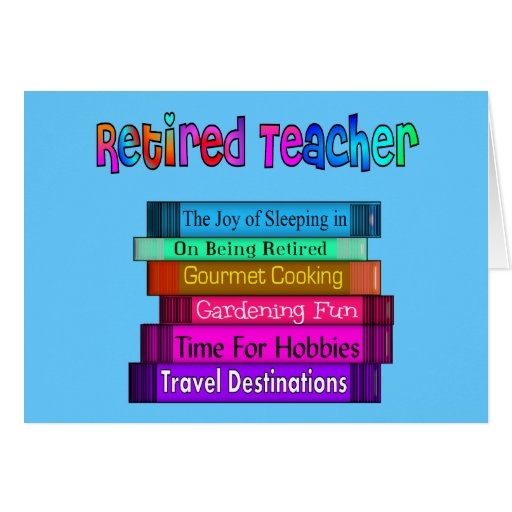 Retired Teacher Gifts Stack of Books Design Greeting Card