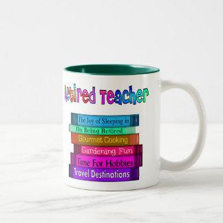 Retired Teacher Gifts Stack of Books Design Mugs