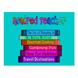 Retired Teacher Gifts Stack of Books Design Postcard