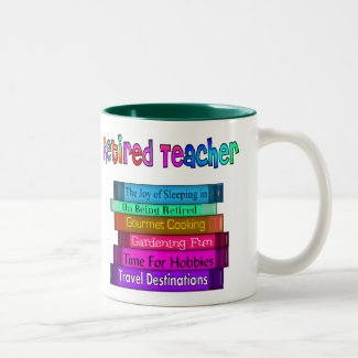 Retired Teacher Gifts Stack of Books Design Two-Tone Coffee Mug