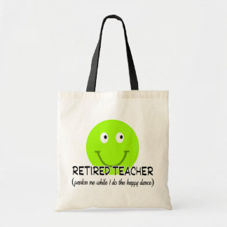 Retired Teacher Green Smiley Happy Dance Gifts Canvas Bag