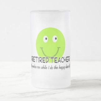 "Retired Teacher Green Smiley ""Happy Dance"" Gifts Coffee Mug"