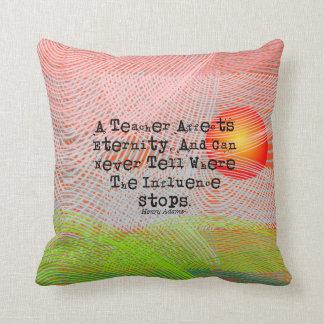 Retired Teacher Henry Adams Quote Throw Pillow