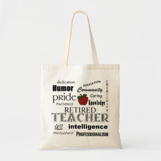 Retired Teacher Pride-Red Apple+Customizable Tote Bag