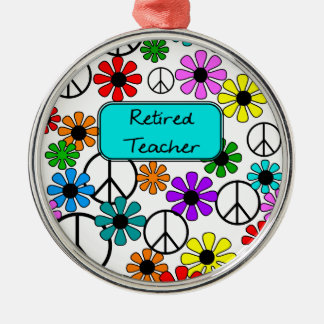 Retired Teacher Retro Flowers and Peace Signs Christmas Ornament