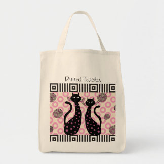 Retired Teacher Tote Bag Whimsical Cats
