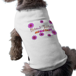 Retired Teachers Assistant Retro Flowers Sleeveless Dog Shirt