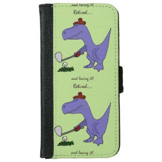 Retired Trex Dinosaur Playing Golf iPhone 6 Wallet Case