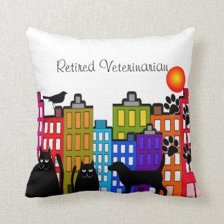 Retired Veterinarian Pillow Whimsical Animal Art