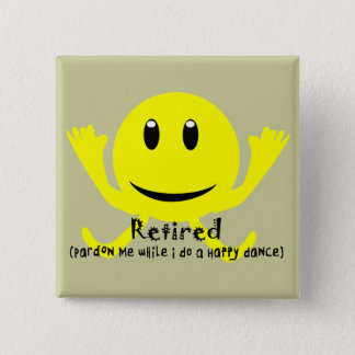 """Retired"" YELLOW SMILEY HAPPY DANCE 15 Cm Square Badge"