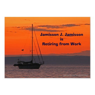 Retirement Announcement Sailboat at Sunset