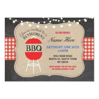 Retirement BBQ Check Chalk Burlap Red Invitation