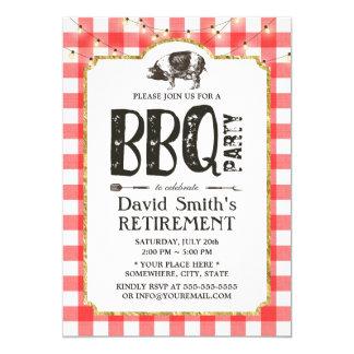 Retirement BBQ Party String Lights Red Plaid 13 Cm X 18 Cm Invitation Card