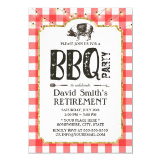 Retirement BBQ Party String Lights Red Plaid Card