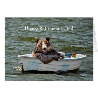 Retirement Bear in Boat Greeting Card