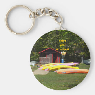 Retirement Canoes Basic Round Button Key Ring