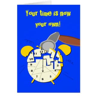 retirement clock, greeting card