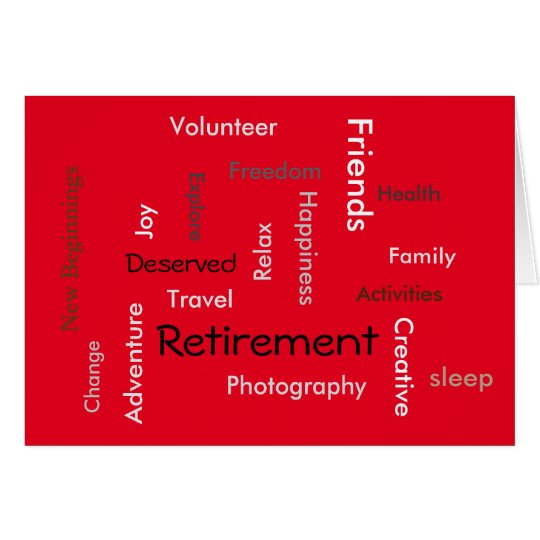 Retirement: customise words on card