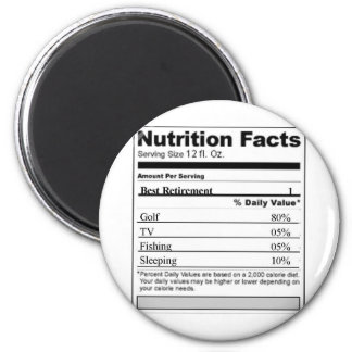 Retirement Funny Nutrition label 6 Cm Round Magnet