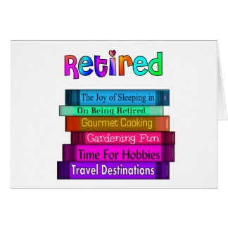 Retirement Gifts Unique Stack of Books Design Greeting Card