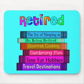 Retirement Gifts Unique Stack of Books Design Mouse Mat