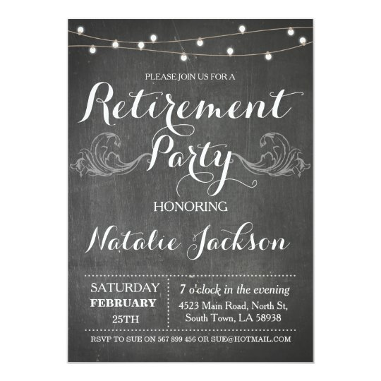 Retirement Invitation Chalk Board Retired Invite