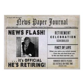 Retirement Invitation-NewspaperPHOTO/ Personalize 13 Cm X 18 Cm Invitation Card