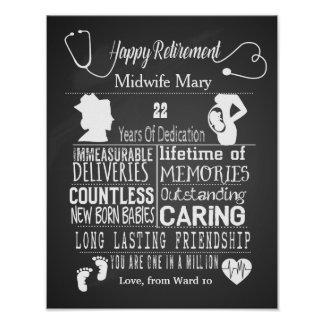 Retirement Midwife Poster gift print