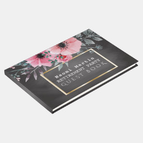 Retirement Party | Chalkboard Pink Elegant Floral Guest Book