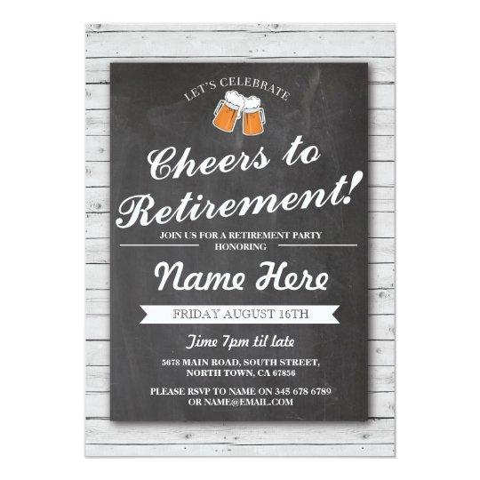 Retirement Party Cheers Beers Grey Wood Invitation
