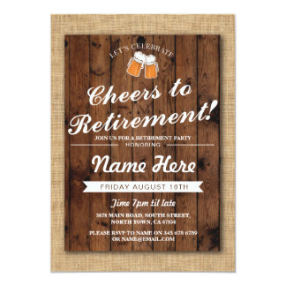 Retirement Party Cheers Beers  Wood Pub Invite