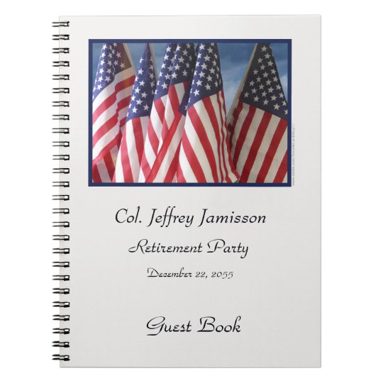 Retirement Party Guest Book, American Flags Notebooks