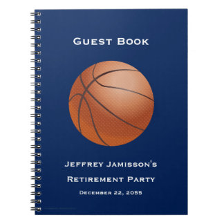 Retirement Party Guest Book, Basketball Spiral Notebook