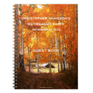Retirement Party Guest Book, Cabin in the Aspens Notebook