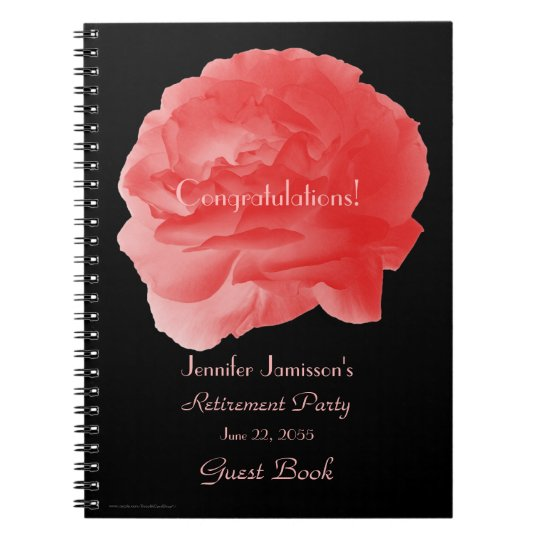 Retirement Party Guest Book, Coral Pink Rose Note