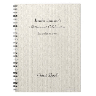 Retirement Party Guest Book, Faux Textured Burlap Notebook