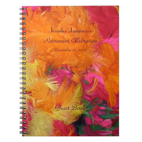 Retirement Party Guest Book, Orange Feathers Spiral Notebook