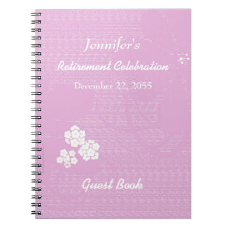 Retirement Party Guest Book Pink, White Floral