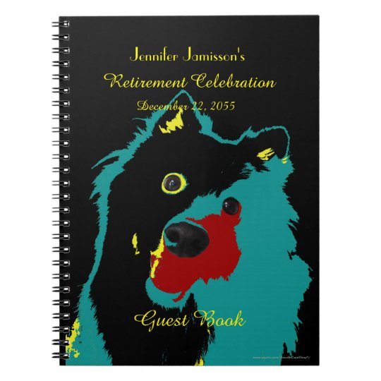 Retirement Party Guest Book, Teal Dog Notebooks