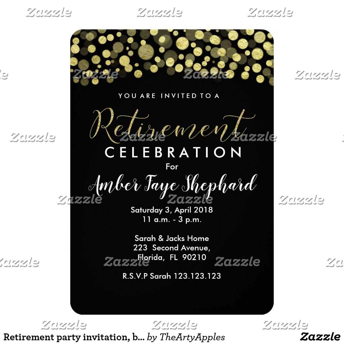 Retirement party invitation, black and gold card
