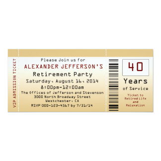 Retirement Party Invitation Goldtone Ticket