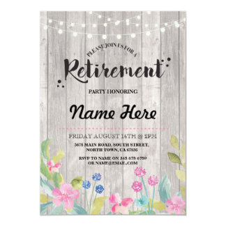 Retirement Party Rustic Retired Wood Floral Invite